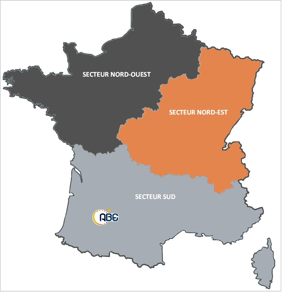 carte de France secteurs commerciaux ABE