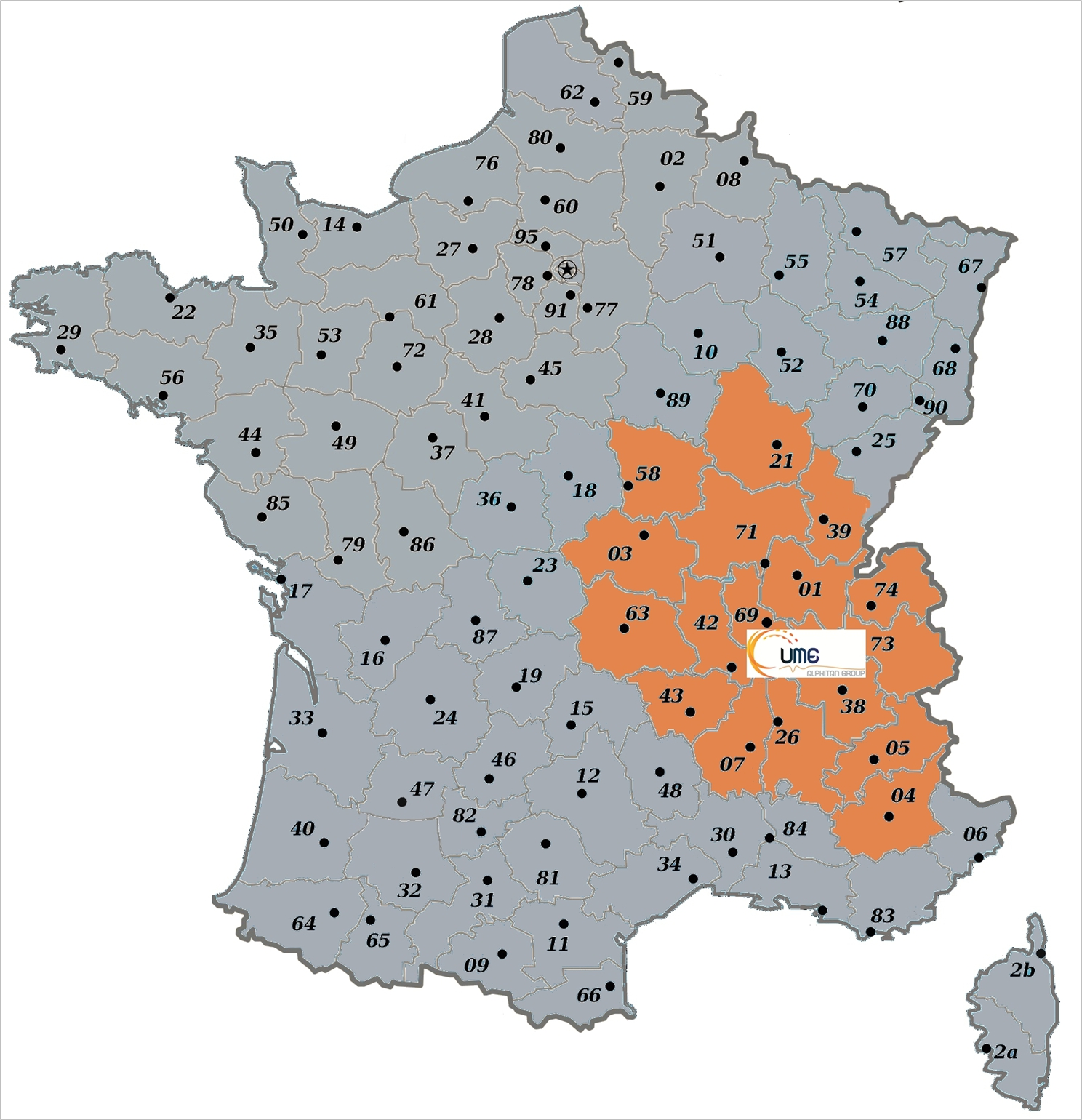 carte de France zone commerciale UME